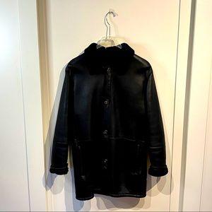 NWOT Salvatore Ferragamo leather Sherling coat